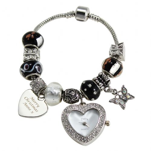 Personalised Black Watch Charm Bracelet 21cm